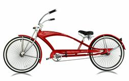 "26"" Stretch Beach Cruiser Bicycle 68 Spokes Rims Coaster Ext"