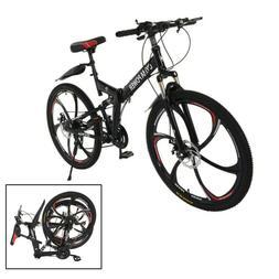 26in Folding Mountain Bike Shimanos 21 Speed Bicycle Full Su