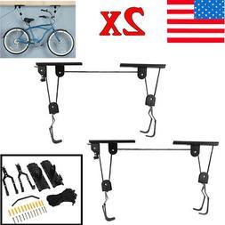 2X Lift Bike Bicycle Ceiling Mount Pulley Hoist Rack Garage