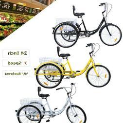 "3-Wheel 7-Speed 24"" Adult Tricycle Bicycle Trike Cruise + He"