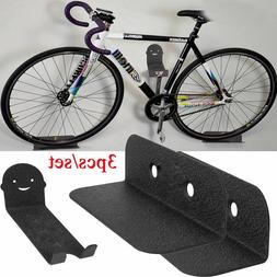 3Pcs Black Bike Bicycle Cycling Pedal Tire Wall Mount Storag