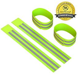 2 Pairs 4 Reflective Ankle Bands High Visibility Arm Safety