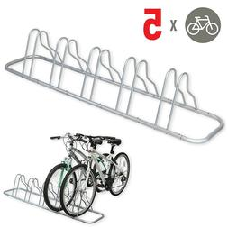 5 Bike Bicycle Rack Holder Stand Floor Parking Ground Stable