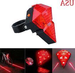 5 Blue LED 2 Laser Beam Bicycle Bike Cycling Tail Rear Light