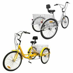 """6/7-Speed 24"""" Adult 3-Wheel Tricycle Cruise Bike Bicycle Wit"""