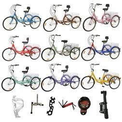 """7/1 Speed Adult 24""""/26"""" 3-Wheel Tricycle Trike Bicycle Bike"""
