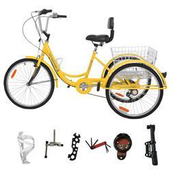 """7/1-Speed Adult 24""""3-Wheel Tricycle Trike Bicycle Bike Cruis"""