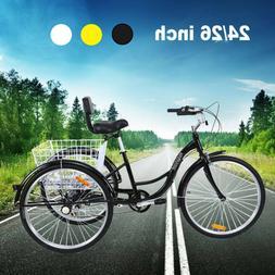 "7-Speed 24""/26"" 3-Wheel Tricycle Trike Bicycle Cruise w/ Bas"