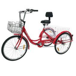 """7-Speed Adult 20""""/26"""" 3-Wheel Trike Tricycle Bike Bicycle Cr"""