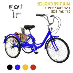 "1/7-Speed Adult 24/26"" Tricycle Trike Bicycle Cruise W/Baske"