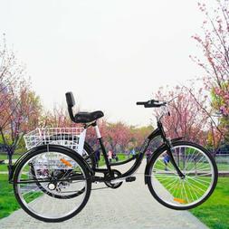 """7-Speed Adult 26"""" 3-Wheel Tricycle Trike Bicycle Bike Cruise"""