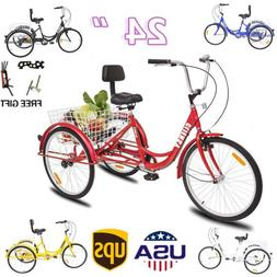 """7-Speed Adult24"""" 3-Wheel Tricycle Trike Bicycle Bike Cruise"""