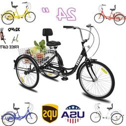 "7-Speed Shimano 24"" Adult 3Wheel Tricycle Trike Cruise Bike"