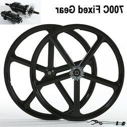 700c Fixed Gear 5-Spoke Mag Wheels Rims Set of Front & Rear