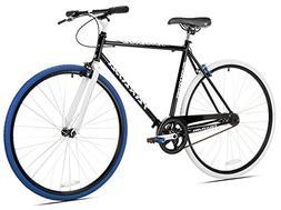 Takara Sugiyama Flat Bar Fixie Bike, Black/Blue, Medium/53cm