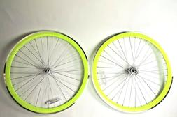 700C Wheelset 43mm Neon Yellow Rims + MACHINED Brake Strip F