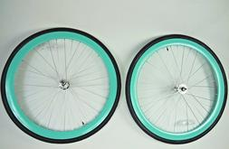 700c Wheelset 43mm RIMS+TIRES+TUBES Seafoam-Green/ Teal Fixi