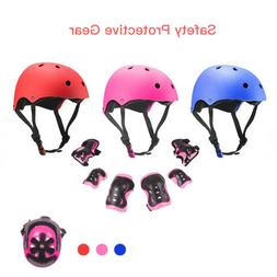 7Pcs Kids Sports Protective Gear Set Safety Pad Helmet Knee