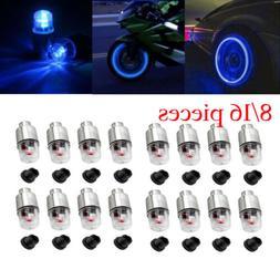 8 / 16pcs LED Wheel Tire Tyre Valve Caps Blue Neon Light for