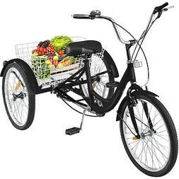 "26"" Adult Tricycle 3-Wheel 7 Speed Bicycle Trike Cruiser w/B"