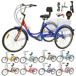 """24"""" 1/7 Speed Adult 3-Wheel Tricycle Trike Bicycle Bike Crui"""