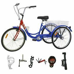 """Adult 24""""3-Wheel 1-Speed Tricycle Trike Bicycle Bike Cruise"""