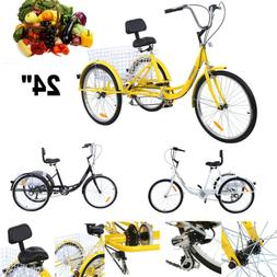 "Adult 24"" 3-Wheel Shimano 7-Speed Tricycle Trike Bicycle Bik"