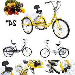 """Ridgeyard Adult 24"""" 3-Wheel 7-Speed Tricycle Trike Bicycle B"""