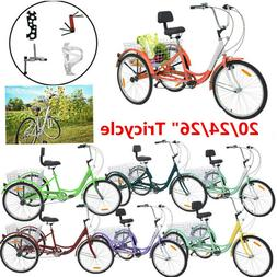 "Adult Tricycle 20/24/26"" 7Speed Trick 3Wheel Bike Outdoor +B"