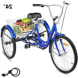 "Adult Tricycle 24"" 1-Speed 3 Wheel Blue Exercise Shopping Bi"