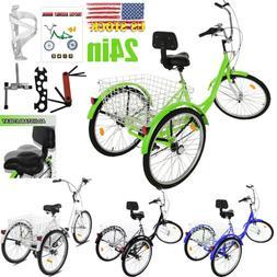 """Adult Tricycle 26"""" 7-Speed 3-Wheel Shimano Trike Bicycle Bik"""