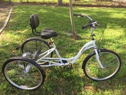 Adult White Kent Alameda 3 Wheel Bicycle 26 inch