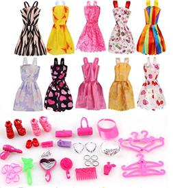 c2edf6dc54f Barbie Clothes 58Pcs Princess Dress Accessories Shoes Clothe