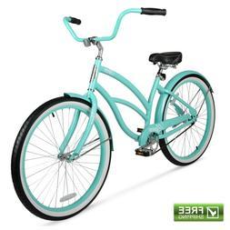 """Beach Cruiser Bike Green Sturdy Steel 26"""" Single Speed Wom"""