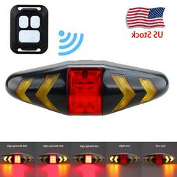 Bicycle Bike Rear LED Tail Light Wireless Remote Control Tur