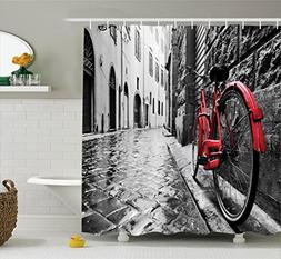 Bicycle Decor Shower Curtain Set by Ambesonne, Classic Bike