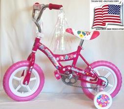 Girls 12 in.Pink Bike+Adjustable Training Wheels+BasketUSA