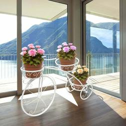 Bicycle Plant Stand Wrought Iron Tricycle Planter Home Garde
