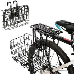Bicycle Storage Basket Folding Metal Wire Handlebar Basket f