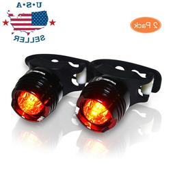 2 Set Led Bicycle Front Rear Tail Flash Light Helmet Safety