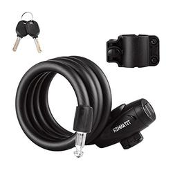Titanker Bike Lock, Bike Locks Cable Lock Coiled Secure Keys