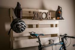 Bike Rack Wall Mount. Floating Shelf with Night light / Recy