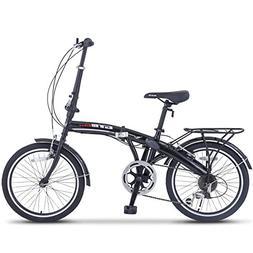 "New 20"" Black Folding Bike 6 Speed Bicycle Mini Shimano Scho"