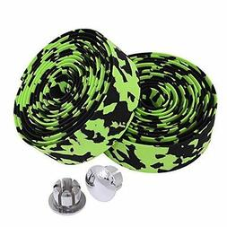 KINGOU Black & Green Camouflage EVA Road Bike Handlebar Tape