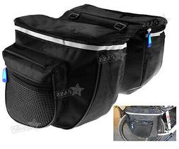 Black Pannier Bag For Bike Bicycle Cycling Tail Seat Double