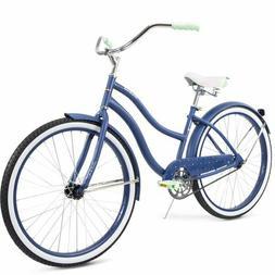 "Blue Cruiser Bike Huffy 26"" Steel Women Comfort City Beach"