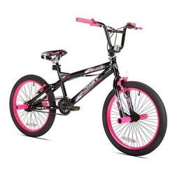 BMX Bike Girls Bicycle 20 Inch Steel Kent Trouble Black Pink