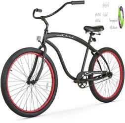 bruiser man seven speed beach cruiser bicycle