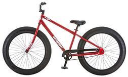 "Mongoose Men's Brutus 26"" Wheel Fat Tire Bicycle, Red, 18"" F"
