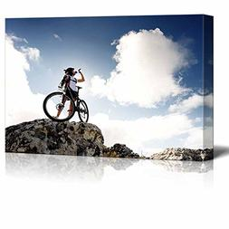 Wall26 - Canvas Prints Wall Art - Cyclist Drinks Water on To